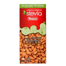Czekolada Torras Stevia mleczna z migdałami 125g