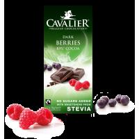 Czekolada z owocami leśnymi ze stewią, deserowa Cavalier, bez cukru, 85g