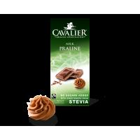 Czekolada z nadzieniem pralinowym ze stewią Cavalier, mleczna, bez cukru, 85g