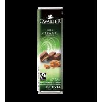 Baton Cavalier z nadzieniem karmelowym z mlecznej czekolady słodzony ekstraktem ze stewii, bez cukru, 40g