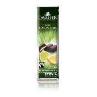 Baton Cavalier z czekolady deserowej z nadzieniem cytrynowym i z limonką słodzony stewią, bez cukru, 40g