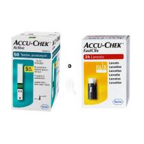 Zestaw Paski do glukozy Accu-Chek® Active 50 sztuk + Lancety Accu-Chek Fastclix 24 sztuki