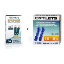 Zestaw Paski do glukozy Diagnostic GOLD 50 sztuk + Lancety Optilets 50 sztuk