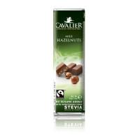 Baton Cavalier z orzechami laskowymi z mlecznej czekolady słodzony ekstraktem ze stewii, bez cukru, 40g